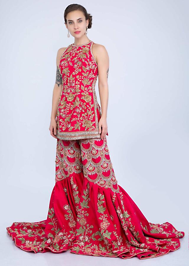 French Pink Suit With Halter Neck And Embroidery Having Long Trail Sharara Online - Kalki Fashion