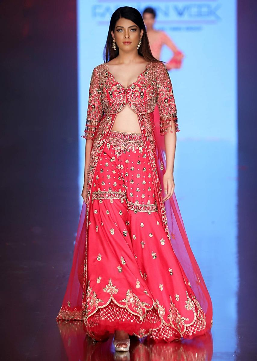 French Pink Jacket Sharara Set In Floral Embroidery And Butti Online - Kalki Fashion