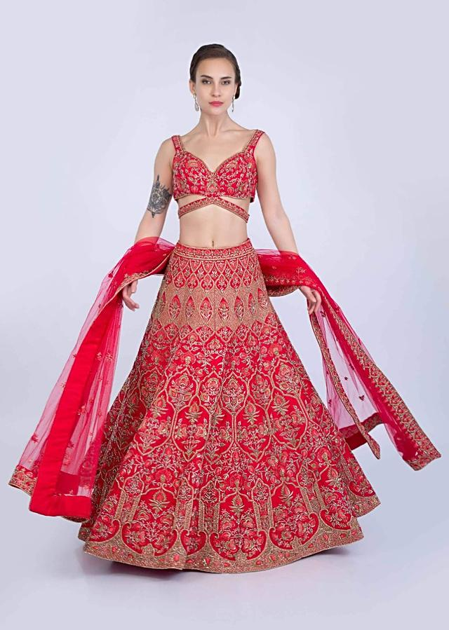 French Pink Lehenga Set In Raw Silk Heavily Embellished In Moroccan And Floral Motif Online - Kalki Fashion