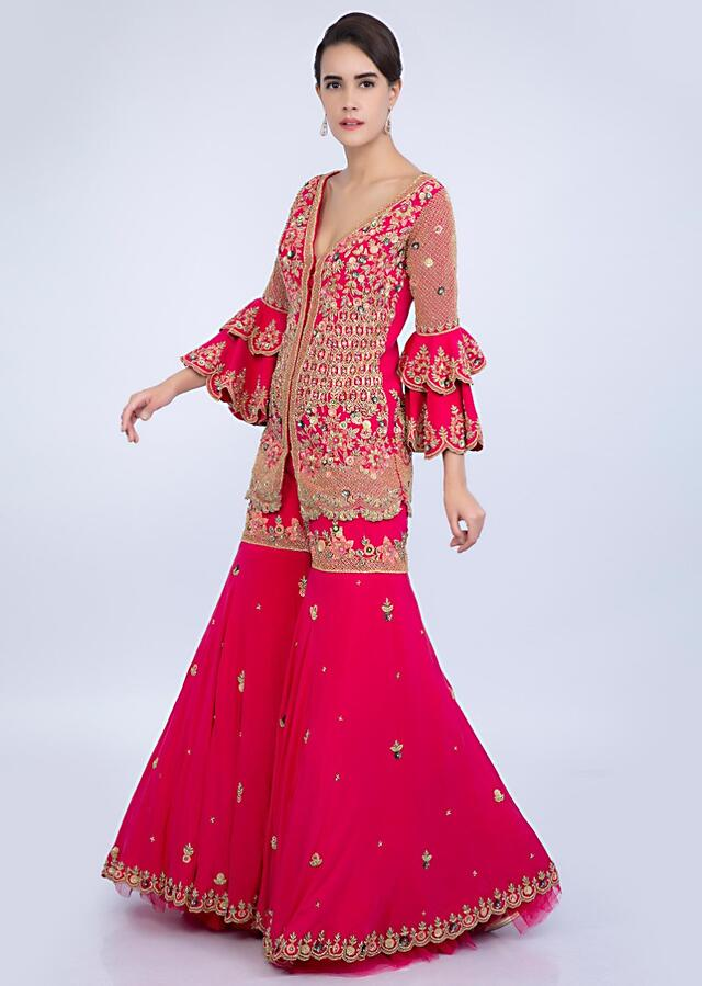 French Pink Sharara With Embroidered Short Suit With Double Layered Sleeves Online - Kalki Fashion
