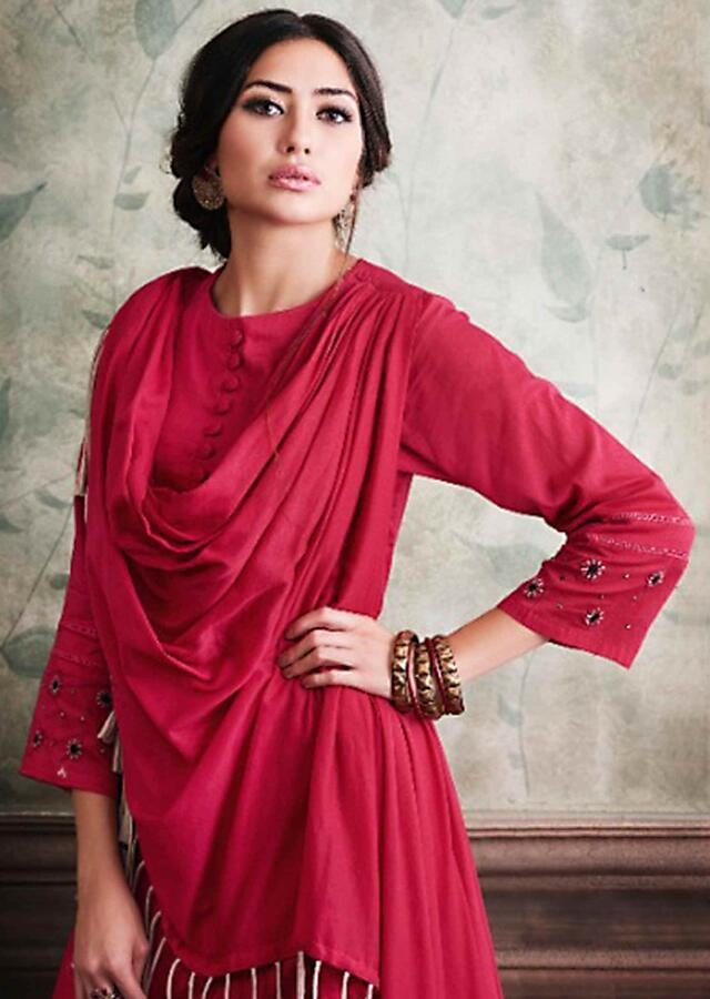 French Rose Pink Tunic In Cotton With Attached Cape Online - Kalki Fashion