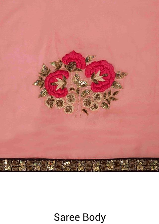 Fresh Peach Saree In Rose Motif Embroidery Online - Kalki Fashion
