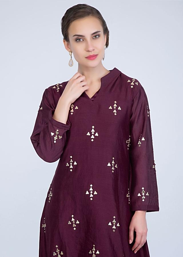 Plum High Low Dhoti Suit Adorned With Sequins Butti Online - Kalki Fashion