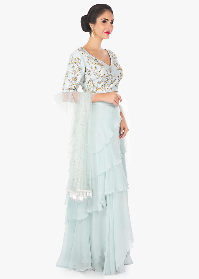 Frost Blue Layered Skirt With Cut Dana And Matching Blouse Online - Kalki Fashion