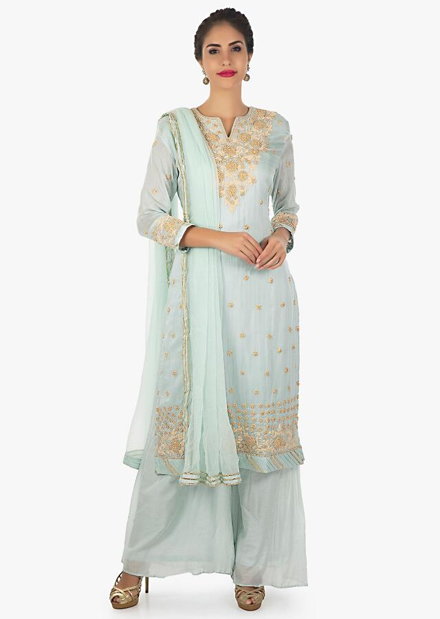 Frost Blue Palazzo Suit Embellished With Cord Work , Moti And Zardosi Online - Kalki Fashion