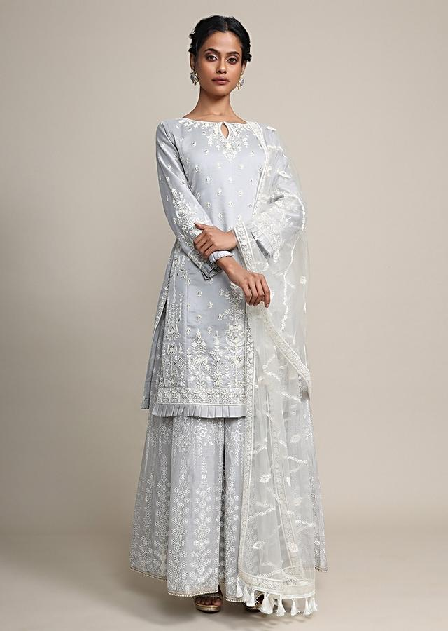 Frost Grey Palazzo Suit In Cotton silk With Heavy Thread Embroidery Online - Kalki Fashion