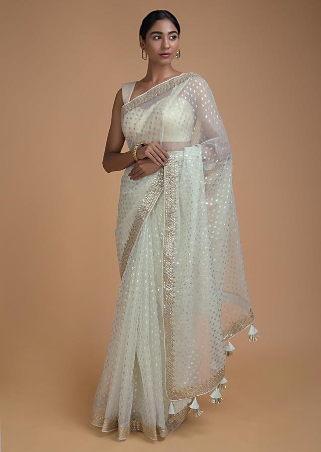 Frost White Saree In Organza With Foil Printed Buttis All Over Online - Kalki Fashion