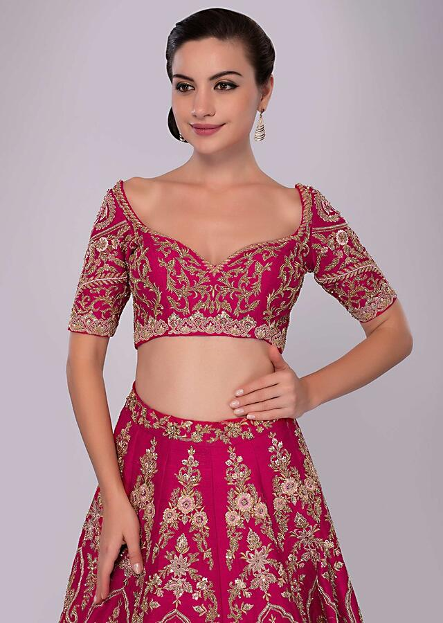 Fuchsia Pink Lehenga Set In Raw Silk With Floral And Temple Embroidery Online - Kalki Fashion