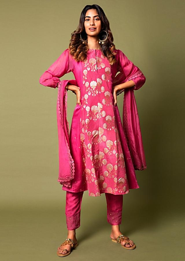 Fuchsia A Line Suit With Floral Hand Woven Banarasi On The Centre Kali And Cheeta Embroidery Online - Kalki Fashion