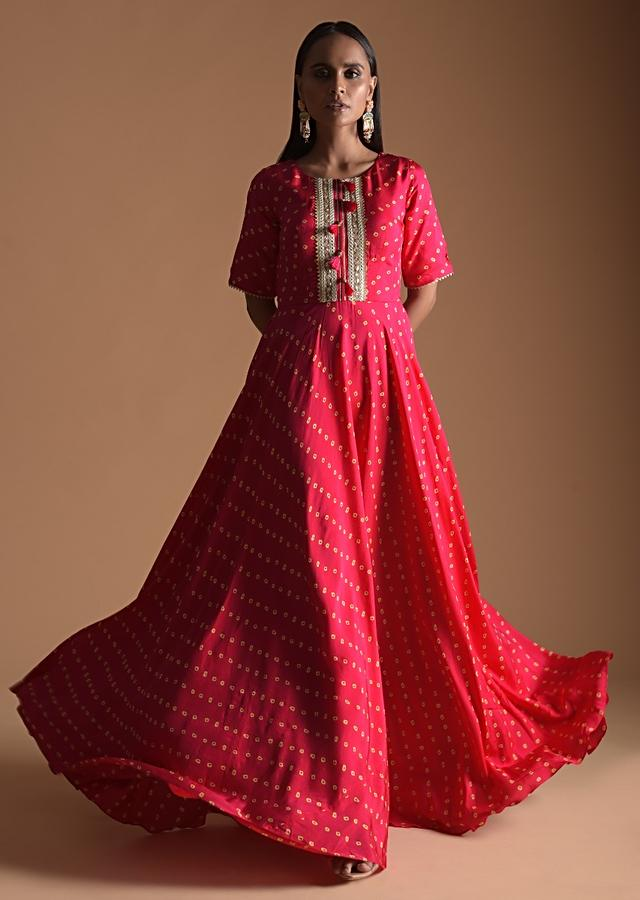 Fuchsia Anarkali Suit In Silk Blend With Bandhani Print All Over Online - Kalki Fashion