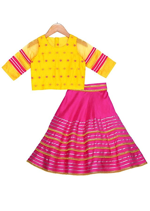Fuchsia Lehenga And Mustard Crop Top With Organza Sleeves Online - Free Sparrow