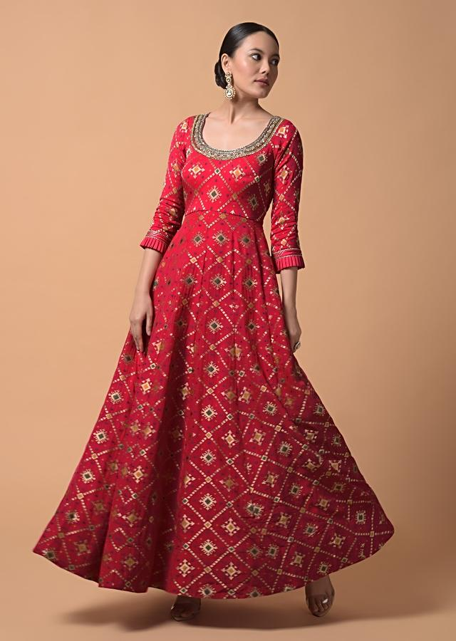 Fuchsia Pink Anarkali Suit In Silk With Woven Patola Design And Abla Embroidered Neckline Online - Kalki Fashion