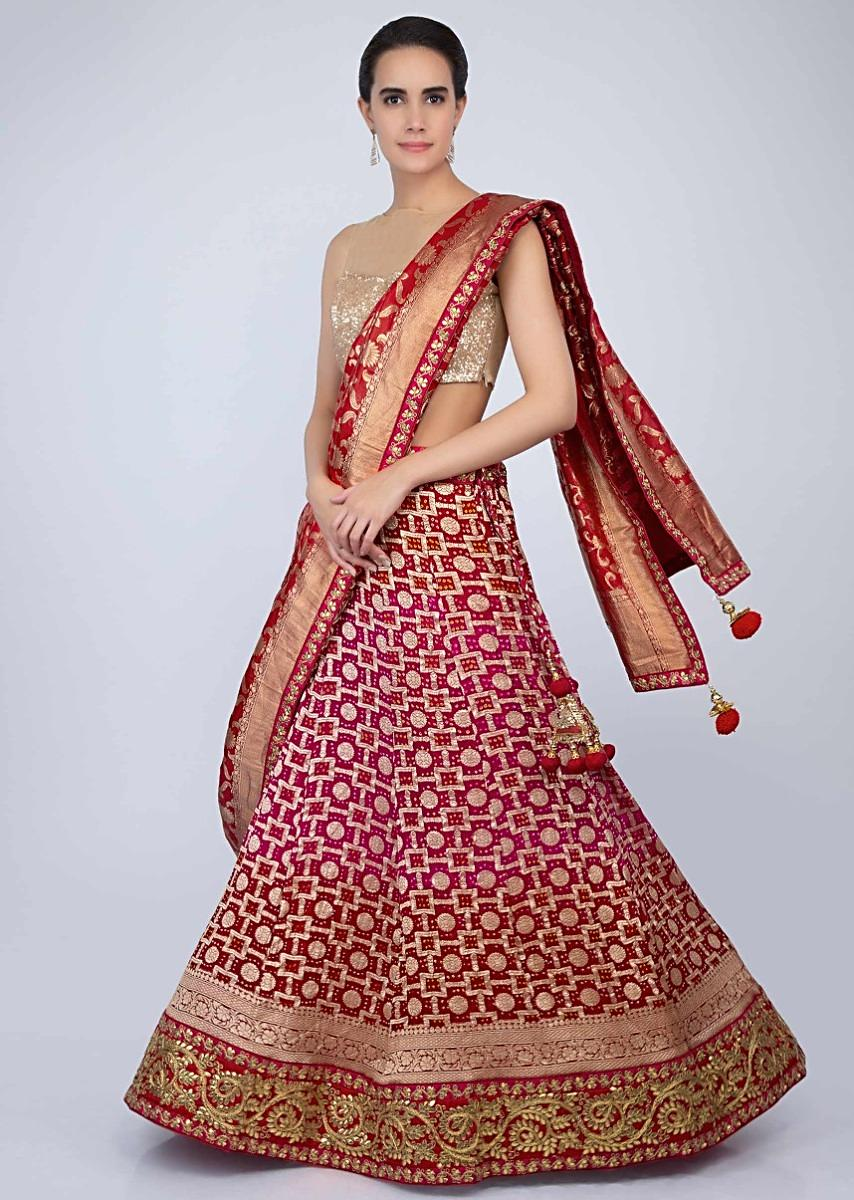 7bf766234f6 Fuchsia pink and red shaded bandhani printed lehenga with red brocade  dupatta only on Kalki