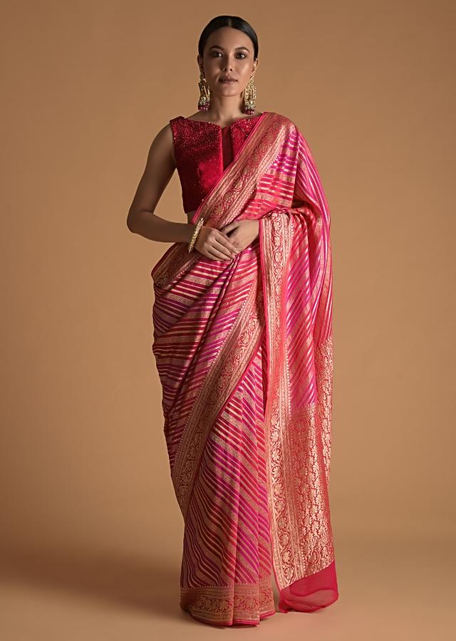 Fuchsia Pink And Red Shaded khaddi Georgette Saree With Weaved Work Online - Kalki Fashion