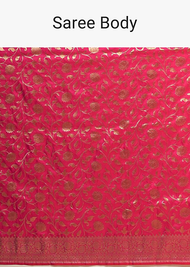 Fuchsia Pink Banarasi Saree In Pure Handloom Silk With Woven Floral Jaal And Floral Border Along With Unstitched Blouse Piece Online - Kalki Fashion
