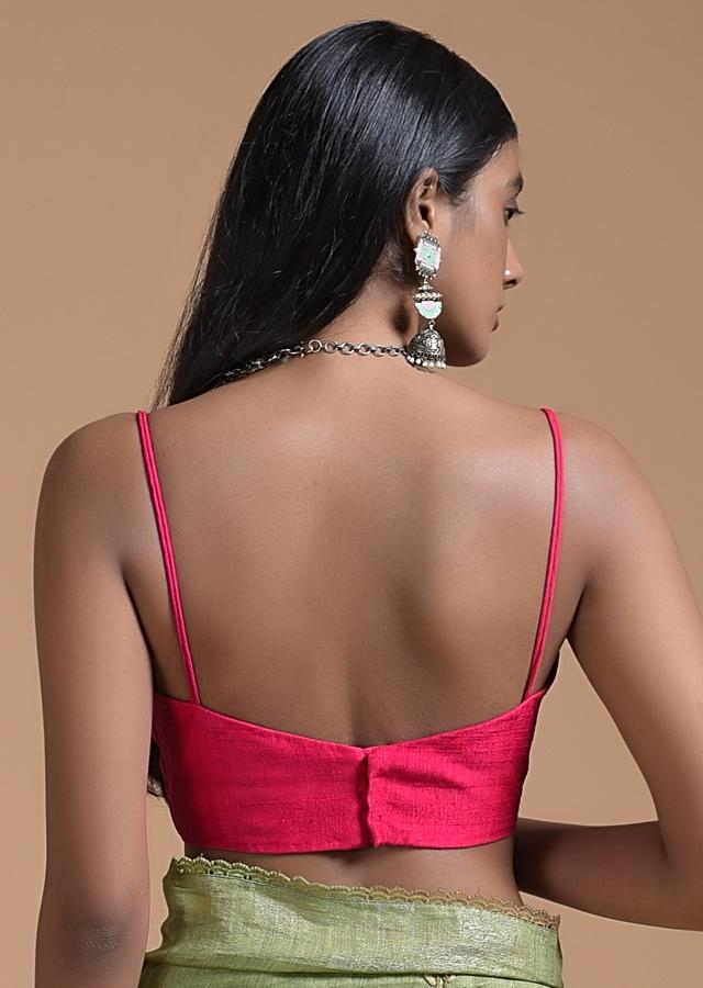 Fuchsia Pink Blouse In Raw Silk With Plunging Neckline And Straps On The SHoulder Online - Kalki Fashion