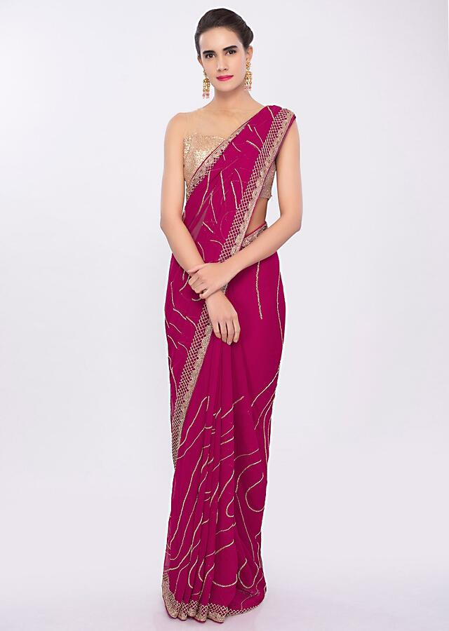 Fuchsia Pink Saree In Chiffon With Cut Dana Embroidery And Butti Online - Kalki Fashion