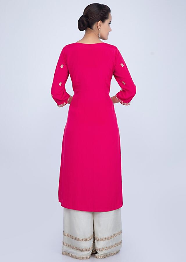 Fuchsia Pink Suit With Embroidery Work And Pista Green Palazzo And Dupatta Online - Kalki Fashion
