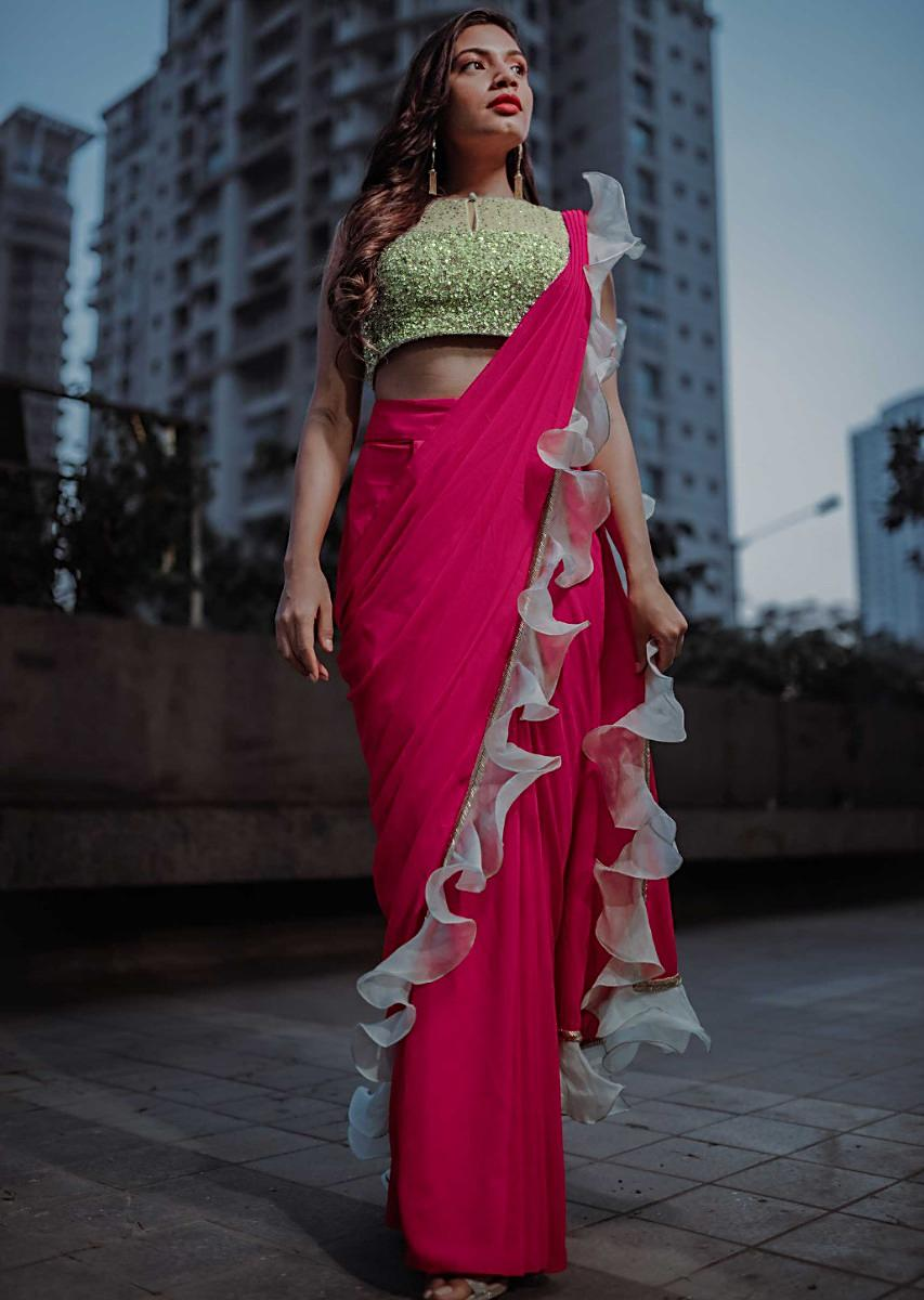 Buy Fuchsia Pink Ready Pleated Saree In Georgette With ...