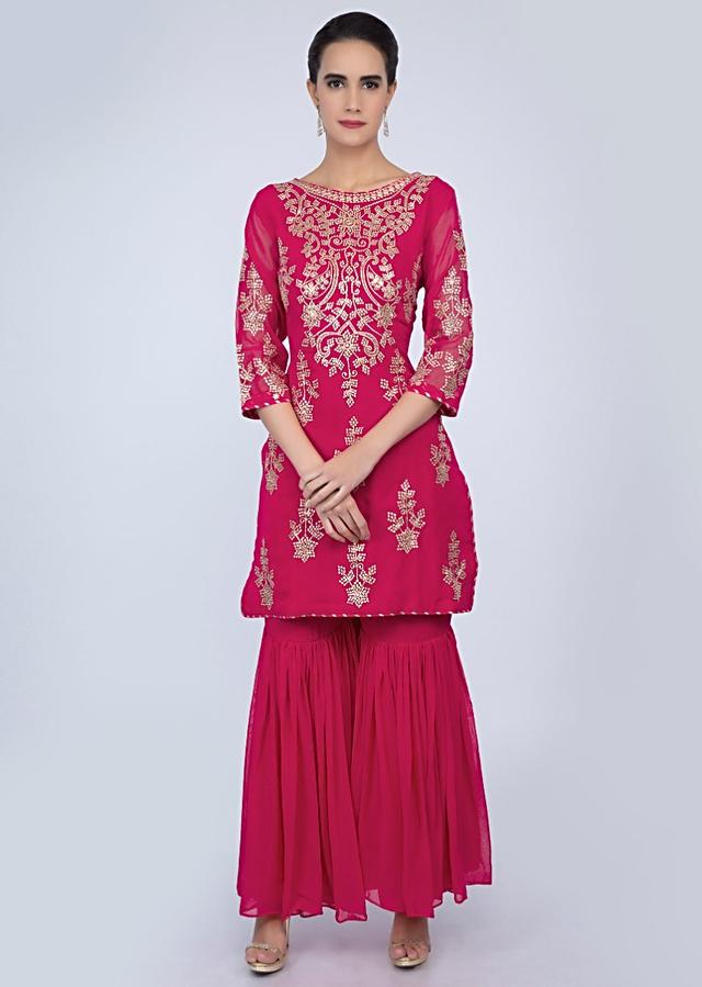 Fuchsia Pink Sharara Suit In Georgette With Flat Zari Embroidery And Butti Online - Kalki Fashion
