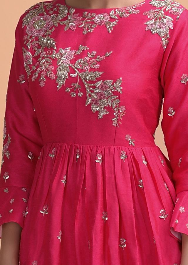 Fuchsia Pink Gown With Peplum Waist And Hand Embroidery Work Online - Kalki Fashion