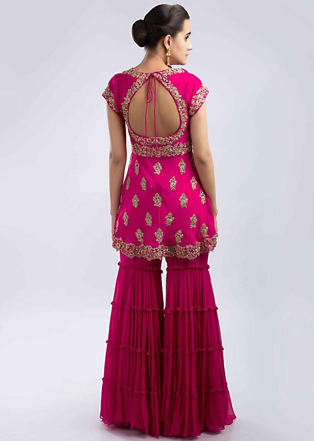 Fuchsia Pink Sharara Suit Set In Hand Embroidered Georgette With Peach Net Dupatta Online - Kalki Fashion