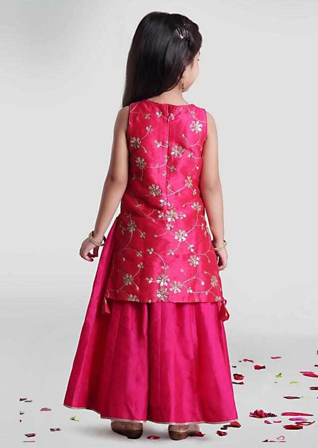 Fuchsia Pink Inner Outer Layered Kurta With Sequins Embroidered Floral Jaal By Mini Chic