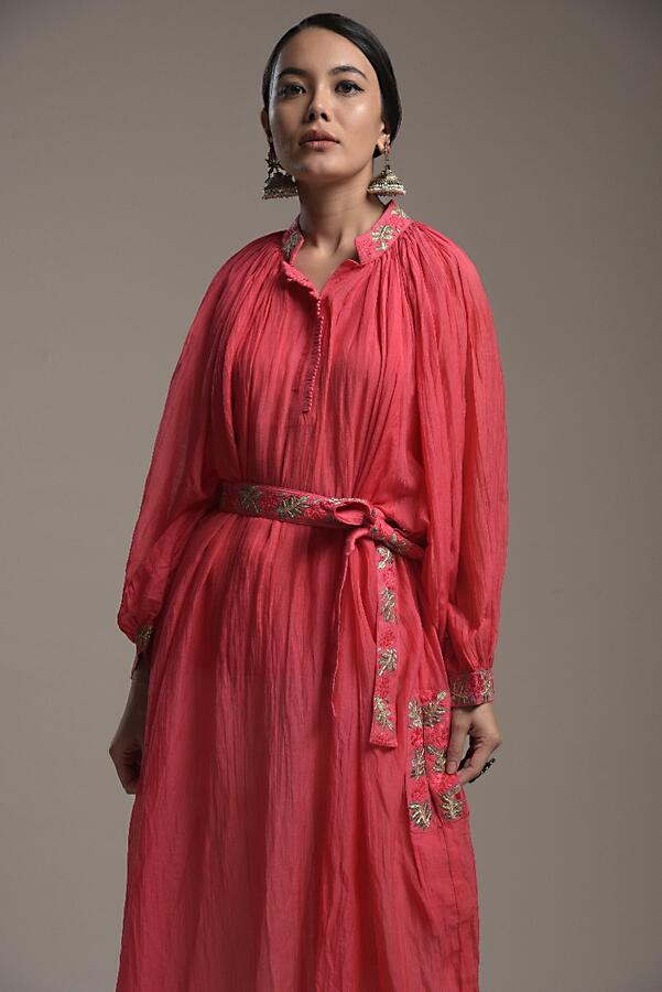 Fuchsia Pink Peasant Tunic In Cotton With Thread Work Detailing And Matching Embroidered Belt Online - Kalki Fashion