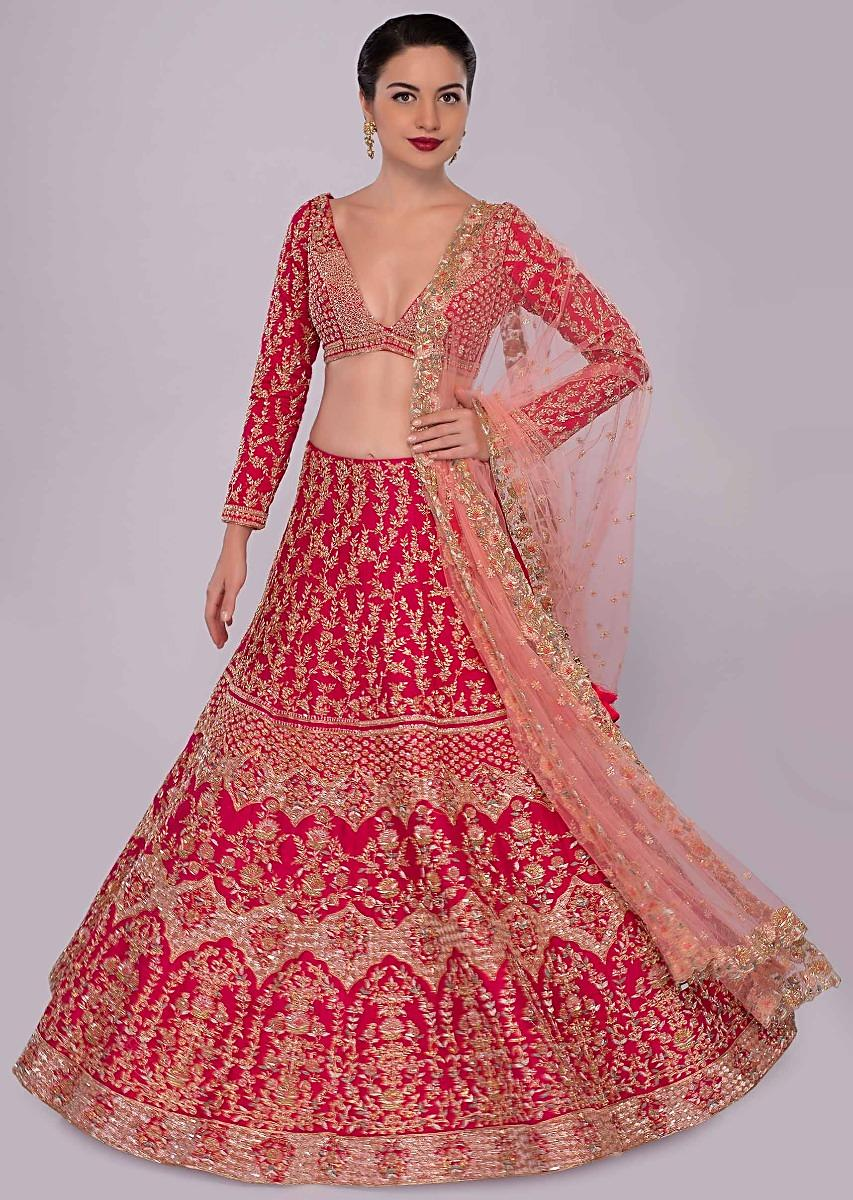 1b77cbcc2b Fuchsia pink raw silk lehenga set in temple and floral embroidery only on  Kalki