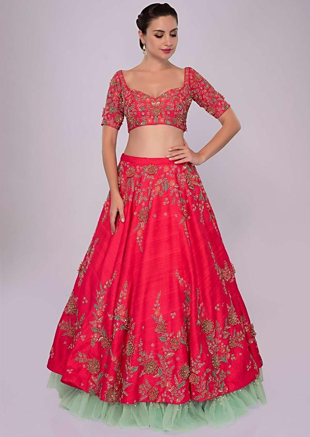 Fuchsia Pink Lehenga Set In Raw Silk With 3D Floral Embroidery Online - Kalki Fashion