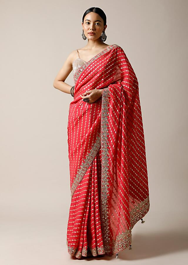 Fuchsia Pink Saree In Brocade Silk With Woven Stripes And Gotta Embroidered Border Along With Unstitched Blouse Online - Kalki Fashion