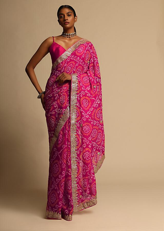 Fuchsia Pink Saree In Georgette With Bandhani Jaal All Over And Gotta Embroidered Border Along With Unstitched Blouse Online - Kalki Fashion