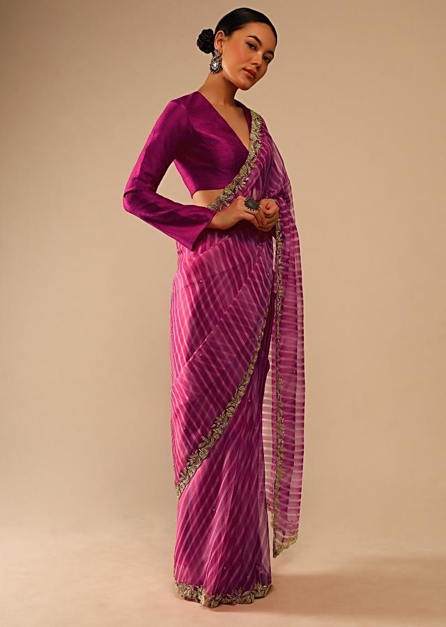 Fuchsia Pink Saree In Organza With Lehariya Print And Hand Embroidered Border With Beads And Sequins Work Online - Kalki Fashion