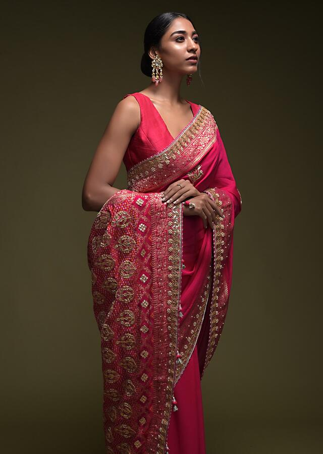 Magenta Pink Saree In Crepe Silk With Woven Floral Border And Gotta Patti Embroidered Floral Motifs  Online - Kalki Fashion