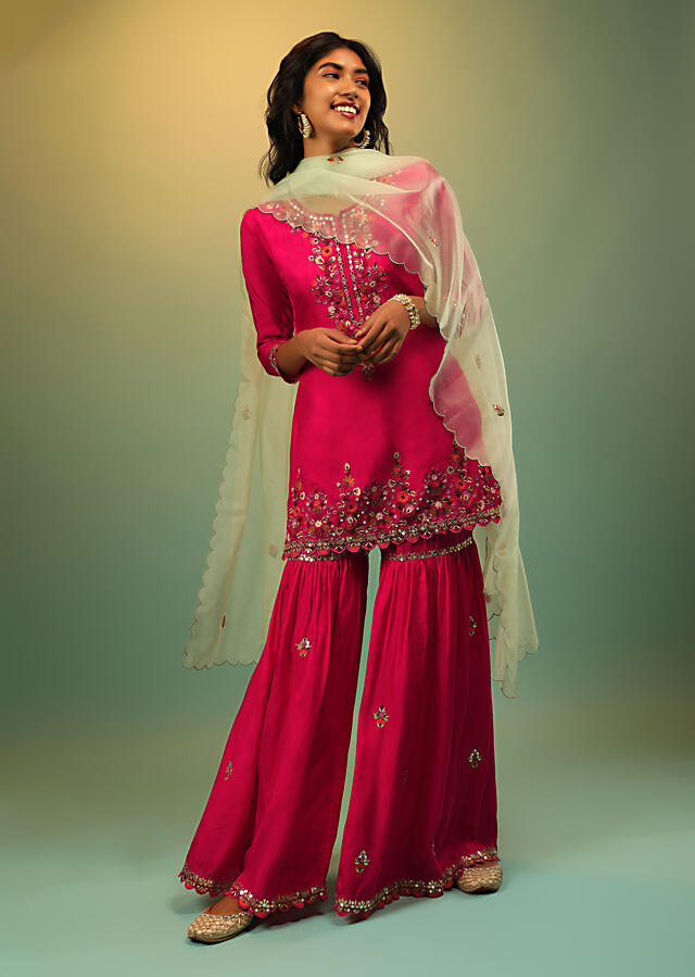 Fuchsia Pink Sharara Suit In Cotton Silk With Multi Colored Resham And Mirror Embroidered Floral Design Online - Kalki Fashion