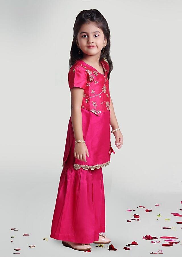 Fuchsia Pink Sharara Suit In Silk With Sequins Embroidered Jacket By Mini Chic