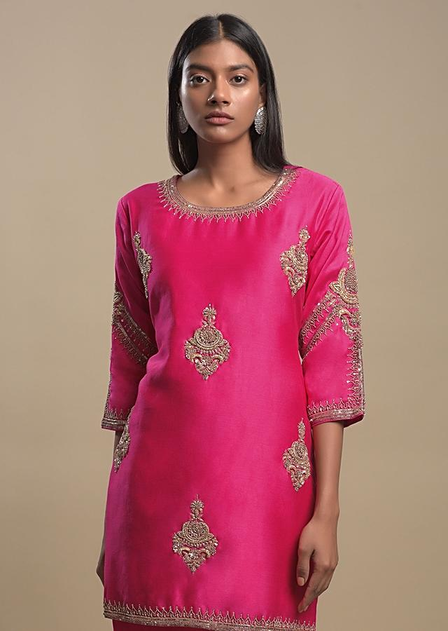 Fuchsia Pink Sharara Suit With Zardozi Embroidered Ethnic Motifs In Repeat Pattern Online - Kalki Fashion