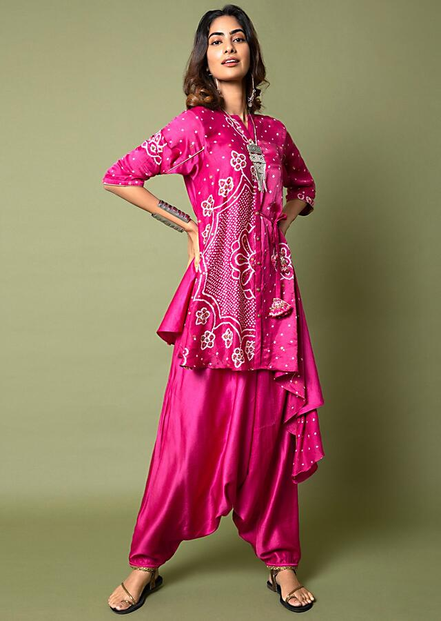 Fuchsia Pink Shirt And Cowl Pants Set With Mandala Bandhani Print And Hand Embroidered Using Antique Sequins And Beads Online - Kalki Fashion