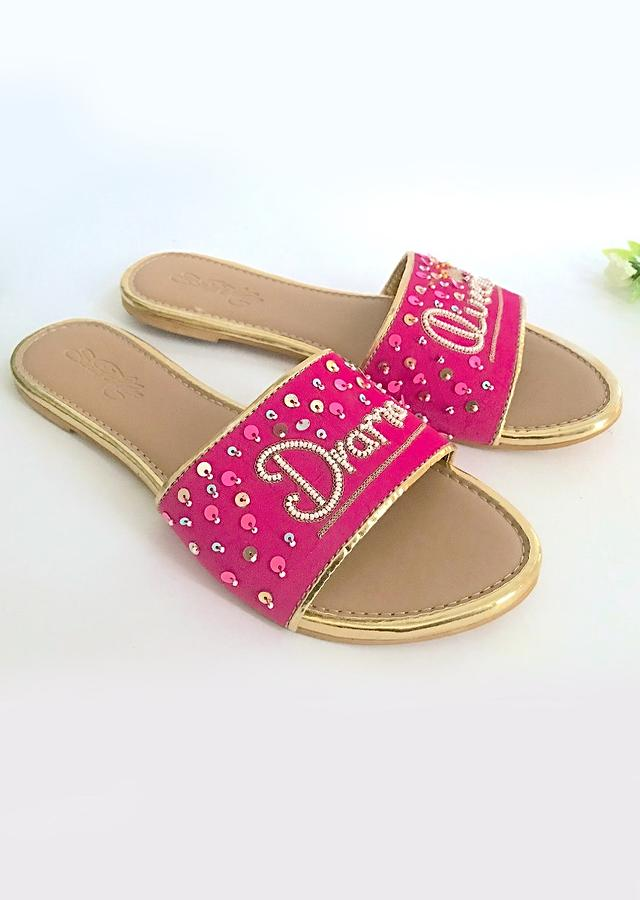Fuchsia Pink Slider Flats With Drama Queen Text And Scattered Sequins Online By Sole House