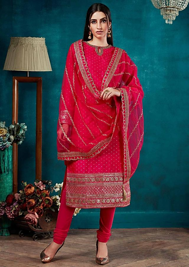 Fuchsia Pink Straight Cut Suit In Silk With Weaved Buttis And Embroidery Work Online - Kalki Fashion