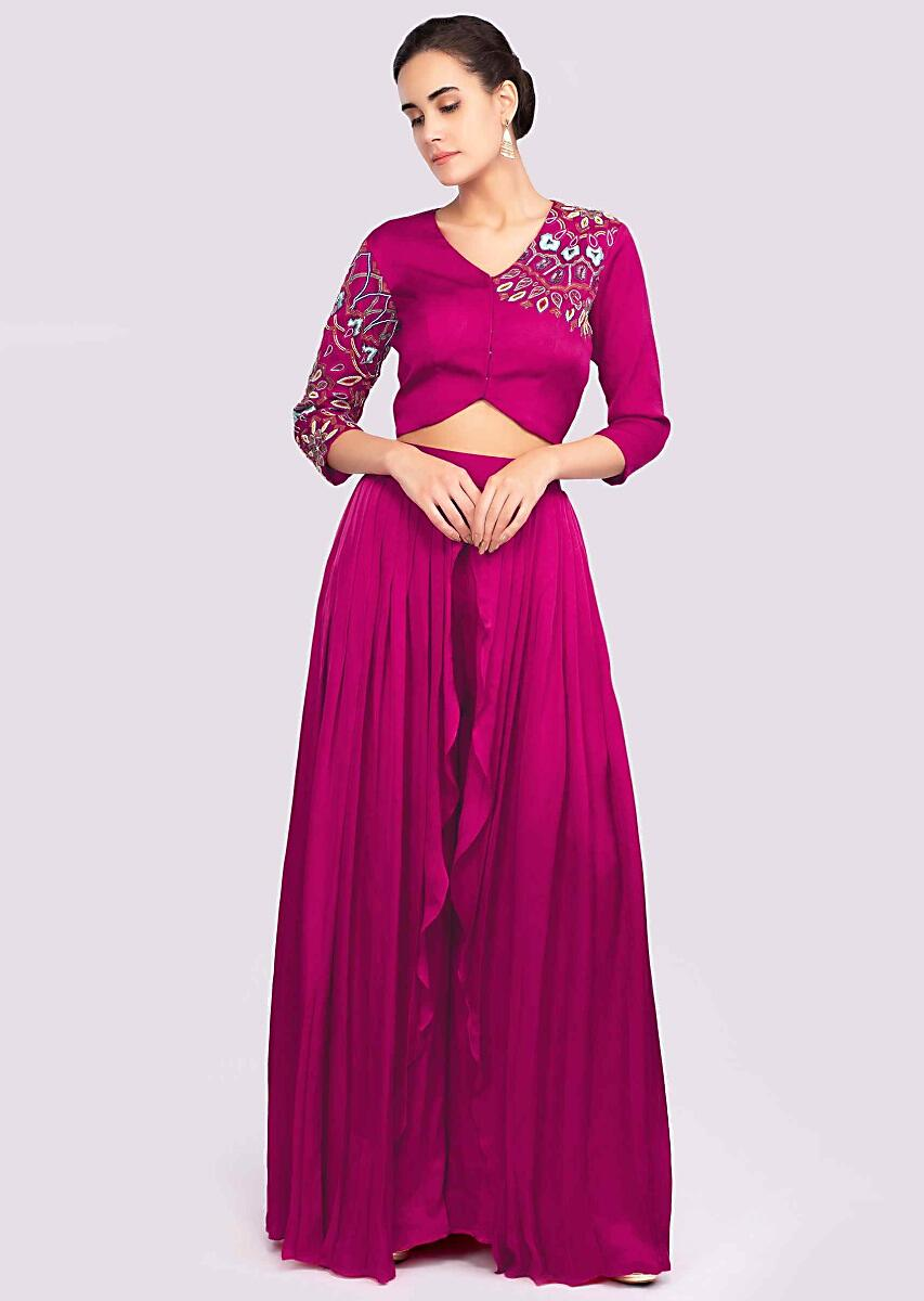 9c40463f07b Fuchsia pink two layer crepe palazzo with matching crop top only on KalkiMore  Detail