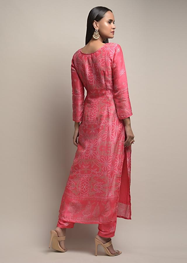 Fuchsia Straight Cut Suit In Silk Blend With Bandhani Print All Over Along With Moti Detailing Online - Kalki Fashion