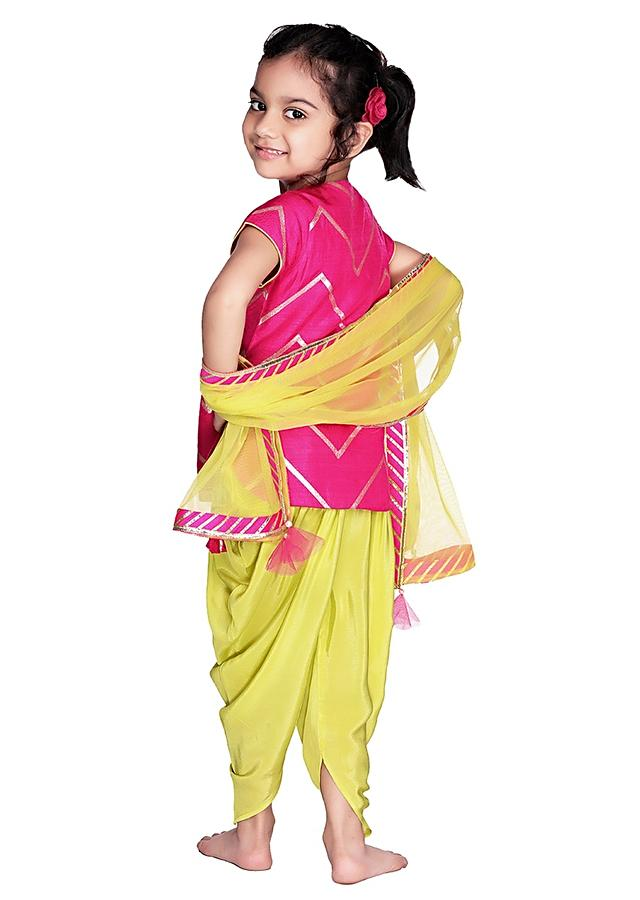 Fuchsia Suit With Lime Green Dhoti Adorned With Chevron Design Online - Free Sparrow