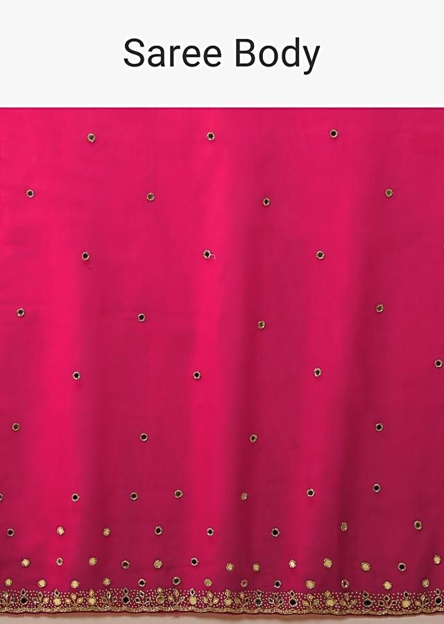 Fuchsia Pink Saree In Organza With Mirror And Cut Dana Embroidered Buttis And Border Design Online - Kalki Fashion