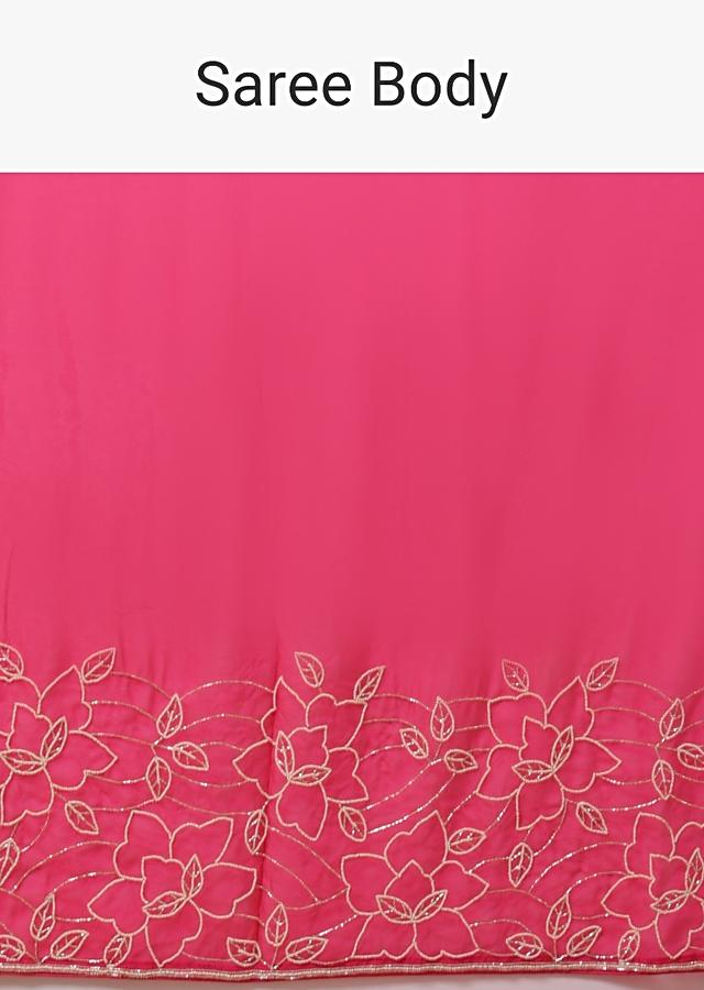 Fuchsia Pink Saree In Organza With Moti And Cut Dana Embellished Floral Design On The Border Online - Kalki Fashion