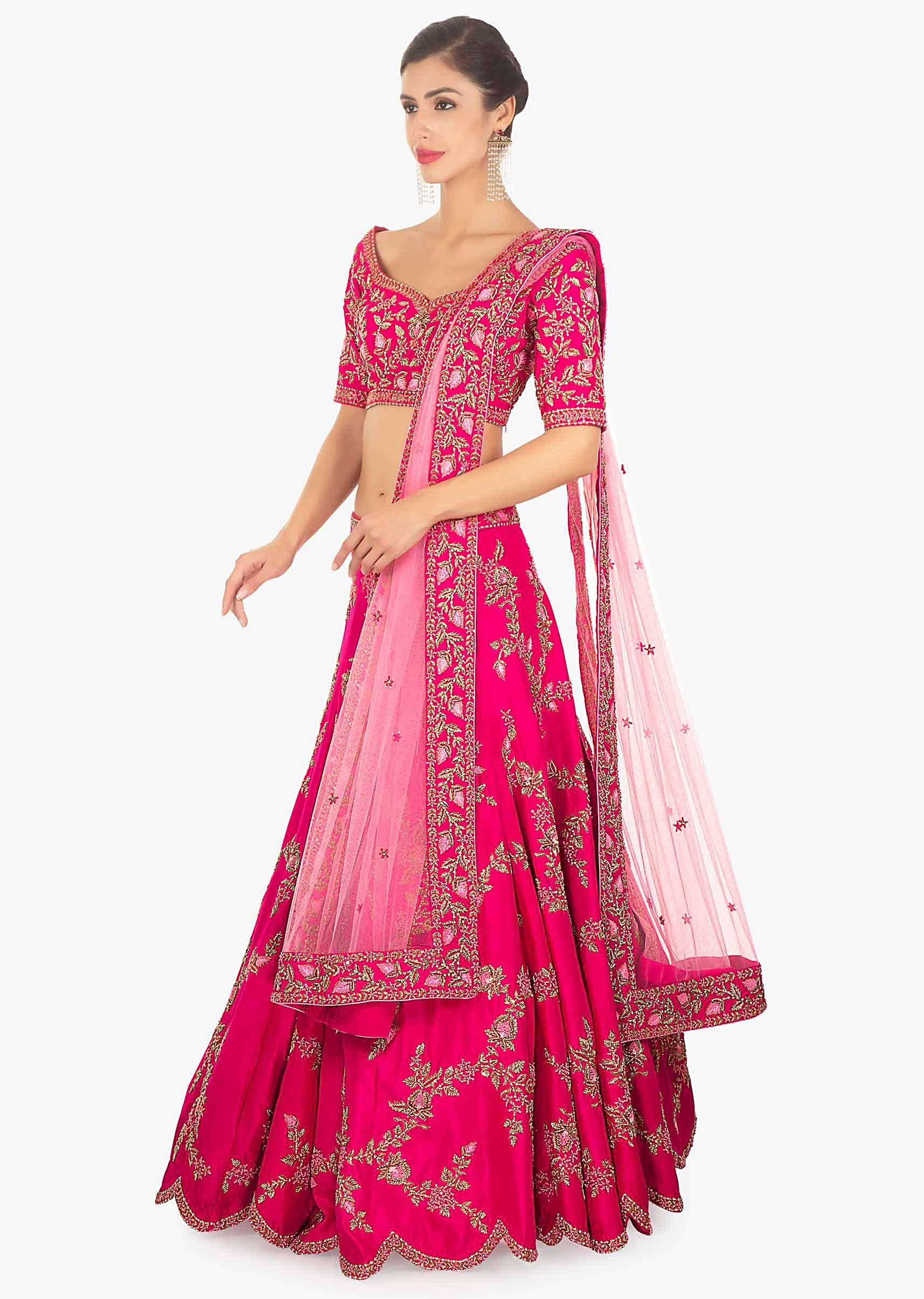 f362691628 Fuschia pink raw silk lehenga and blouse paired with matching net dupatta  only on Kalki
