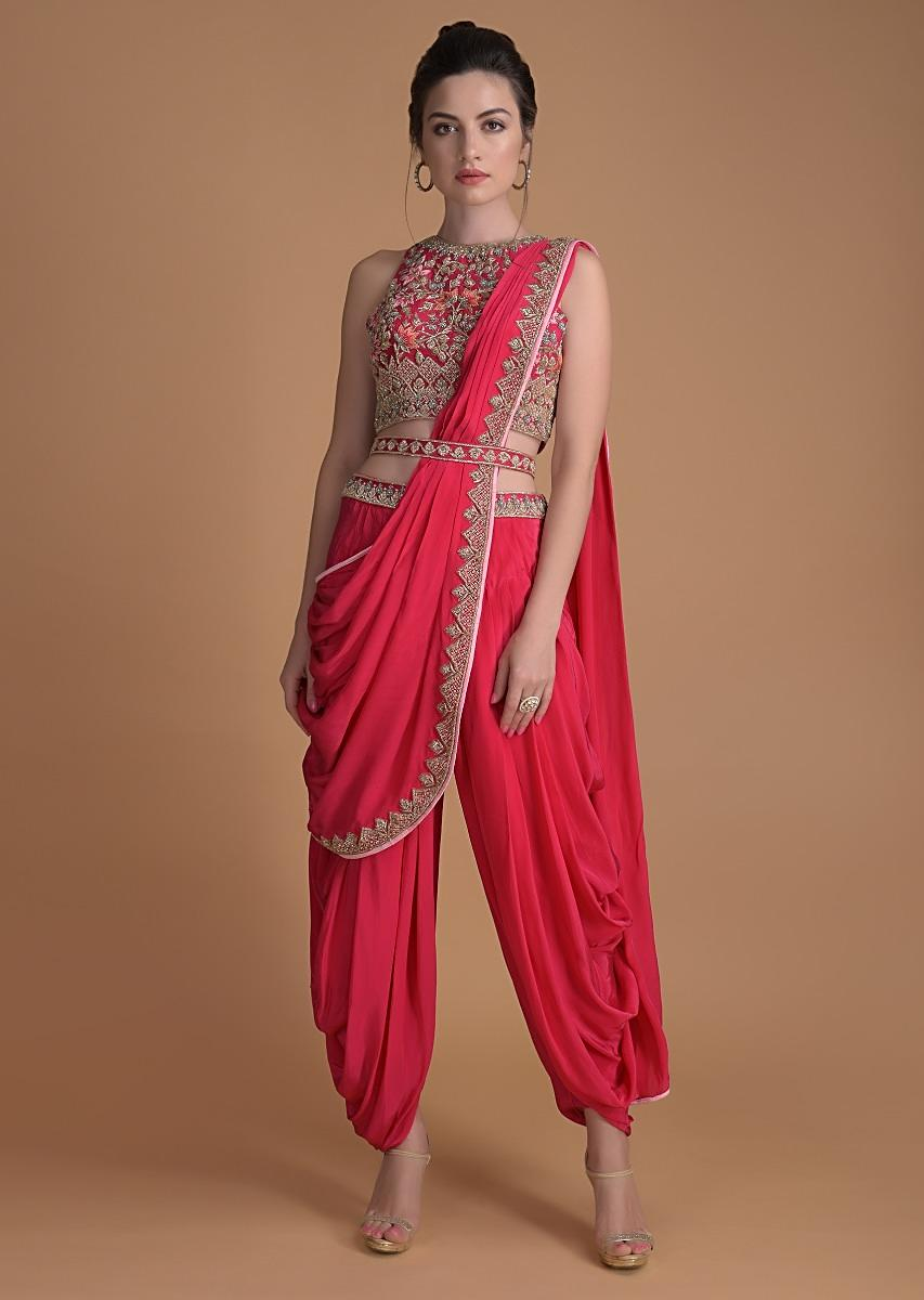 fuschia-rose-dhoti-saree-in-crepe-enhance-with-embossed-floral-embroidery-online-kalki-fashion-m001at216y-sg24182_2_.jpg (853×1200)