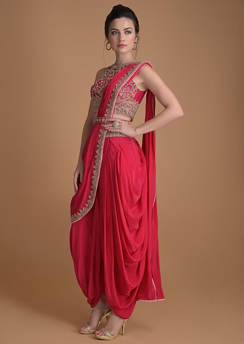 Fuschia Rose Dhoti Saree In Crepe Enhance With Embossed Floral Embroidery Online - Kalki Fashion
