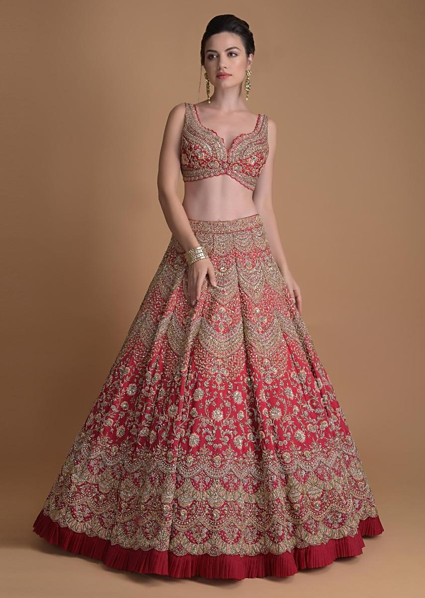 Buy Fuschia Rose Lehenga Heavily Hand Embroidered In Scallop And Floral  Jaal Online - Kalki Fashion