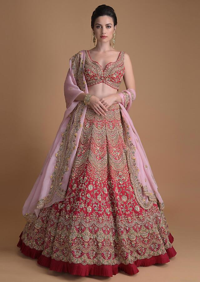 Fuschia Rose Lehenga Heavily Hand Embroidered In Scallop And Floral Jaal Online - Kalki Fashion